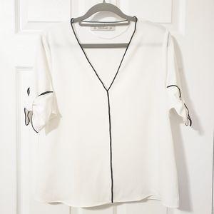 Zara White Blouse Bow Sleeves Size Small